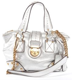 dolce and gabbana handbags   Dolce and Gabbana Silver Leather Bag   FashionLoverConsignment.com