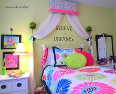 "Down to Earth Style: ""Tween"" Girl Room.  Like the curtain treatment above the bed, but maybe a bit wider?"