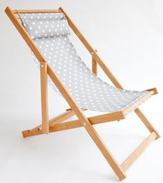 ikat spots grey gray and white outdoor fabric on oak deck chair