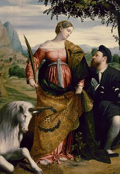 Saint Justina with the Unicorn, circa 1530, by Moretto da Brescia