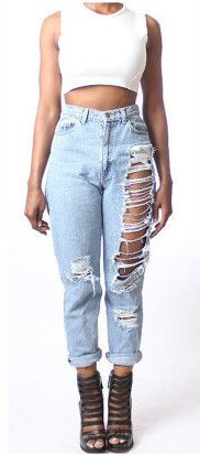 Destroyed ripped jeans baggy boyfriend hole Distressed vaqueros