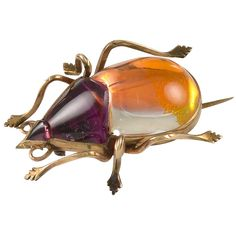 An Antique Rock Crystal and Gold Beetle Brooch | From a unique collection of vintage brooches at https://www.1stdibs.com/jewelry/brooches/brooches/