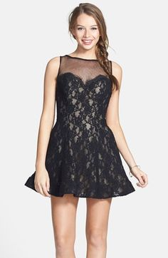 La Femme Illusion Lace Fit & Flare Dress available at #Nordstrom