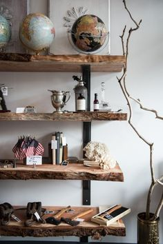 Natural wooden shelves