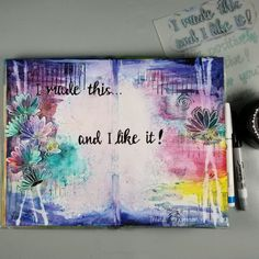 For this layout I worked on the outer edges with vibrant color left the center light. Hello Beautiful, Utrecht, Vibrant Colors, Stampin Up, Stencils, My Design, Mixed Media, Journal, Watercolor