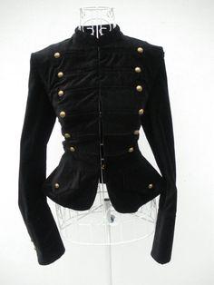 Vintage 80s Black VELVET DANDY Gothic Military jacket russian renaissance jacket Steampunk coat