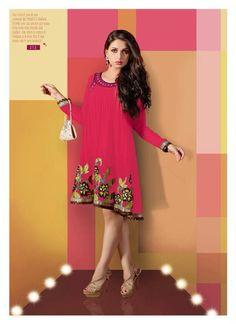 "Designer Wear Georgette Kurti with Santoon lining in Pink color with fine embroidery work en-crafted. Length: 38"" and Size: L, XL"