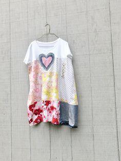 Upcycled Clothing Tshirt Dress Womens Dress Heart Denim