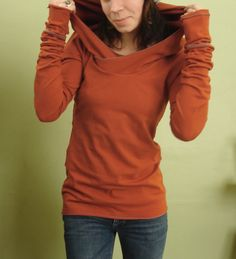 I want like 5 of these! They look so comfy! extra long sleeved hooded top Rust Orange by joclothing on Etsy. , via Etsy.