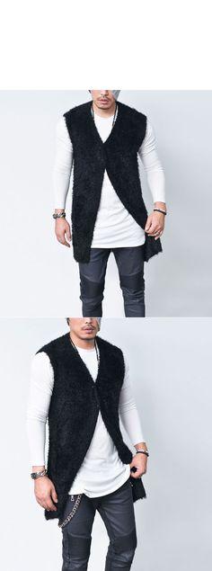 Outerwear :: Cardigans :: Silky Smooth Fur Slim Long-Vest 113 - GUYLOOK Men's…