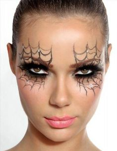 Spice up your costume with this spider web Halloween makeup.