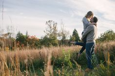 Engagement shoot in the fields