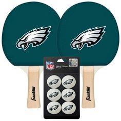Philadelphia Eagles NFL Table Tennis Paddles and Balls Set (2 Paddles and 6 Balls )