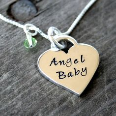 A gorgeous thick Tiffany style sterling silver heart stamped with Angel Baby on the front, with your choice of birthstone or gemstone. A perfect way to remember the little one you will always carry in your heart. Made with love to comfort mothers who have lost a baby during pregnancy, birth and infancy, to acknowledge their loss, and to help celebrate the memory of a child gone too soon.    #Jewelry  www.LaBelleDame.com