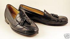 Mens-BASS-Black-Leather-Loafers-Sz-13-Tassels-D-Harrison