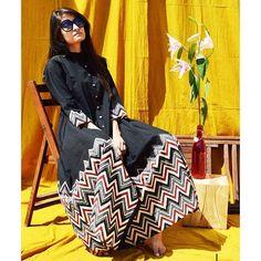 This black beauty with a bold chevron border can be styled as a dress or a kalidaar for your myriad moods!  #silai #silaistudio #handprint #blockprintedfabric #blackisback #blacklove #chevron #flare #styleitup #cotton, #kalidar #maxi #dresses #instafashionista #indian #indianfashion #handmadewithlove #fashionblog #madeinindia #naturaldyes