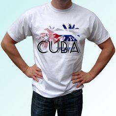 Cuba palm flag  new white t shirt flag design print by TshirtHelix