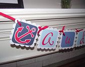 Nautical Name Banner, Room Decor, Baby Shower, Wedding, Cruise, Door Sign, Sailboat, Anchor, nursery wall hanging, nautical bunting,