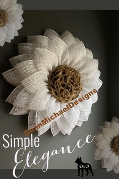 This simple elegant flower will add beauty to any decor. Simple farmhouse style wreath. Stylish white poly burlap with a natural burlap center. This charming flower will enhance any type of decorating style. Add to indoor wall decor or use as a beautiful wreath for front door. Original by DeanMichaelDesigns. Measures approximately 23 inches in diameter and 4-5 inches deep.   Farmhouse style. Simple home decor.  Interior design. Exterior design.