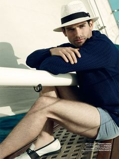 Navy blue sweater works well with striped shorts and those great black & white shoes
