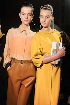 Kasia Struss and Sigrid Agren backstage, Fendi Spring 2013