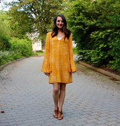 Fun yellow printed bell sleeve dress great for summer and spring