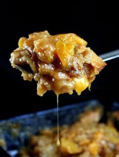 Butterscotch Caramel Peach Cobbler - No Words.  Make it with apples, pears or other fruit, if you don't like peaches.