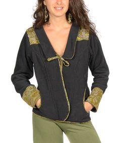Jayli Black Patchwork Front-Tie Jacket   zulily