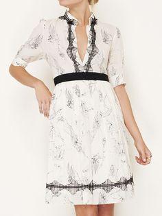 Lela Rose Cream And Black Dress
