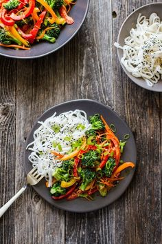 This stir fry dish features fresh flavors, bold spices and an abundance of crunchy raw foods.