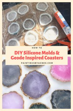 How To: DIY Silicone Molds and Geode Inspired Coasters – Paintings by Agnes - . - How To: DIY Silicone Molds and Geode Inspired Coasters – Paintings by Agnes – Resin – - Diy Resin Art, Epoxy Resin Art, Diy Epoxy, Diy Resin Crafts, Diy Crafts To Sell, Diy Crafts For Kids, Diy Art, Diy Resin Painting, Diy Resin Projects
