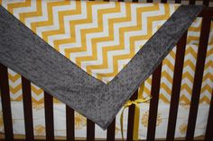 Yellow Chevron and Gray Minky Blanket by DesignsbyChristyS on Etsy, $40.00