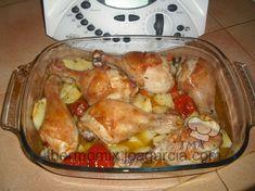 Muslos de pollo thermomix con patatas y tomates cherry. Varoma