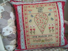 Betsy Makes ....: Wedding Sampler Cushion - adorable wedding sampler stitched by Sam at BetsyMakes blog, for her friend. This stunning design is by The Historical Sampler Company - what a great job she did ;)