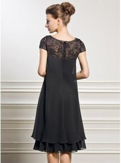 Empire Scoop Neck Knee-Length Chiffon Lace Mother of the Groom Dress With Beading Sequins - JJsHouse Mother Of Groom Dresses, Mothers Dresses, Mother Of The Bride Dresses Knee Length, Wedding Party Dresses, Wedding Attire, Mob Dresses, Fashion Dresses, Vestidos Mob, Custom Dresses