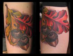 Flesh Tattoo Company in Fallston, Maryland and Black Thorn Gallery in Mechanicsburg, Pennsylvania. Oak Leaf Tattoos, Leg Tattoos, Sleeve Tattoos, Tattoos For Guys, Tatoos, Flesh Tattoo, I Tattoo, Tattoo Quotes, Stand Tall Tattoo