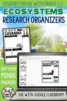 Use these ECOSYSTEMS research organizers to help gather, organize, and record information and key details about the ecosystems and biomes of planet Earth. These digital BIOMES research organizers are the perfect tool to help your students organize their research for their project or report on the their chosen biome or ecosystem. Each digital research organizer helps students organize a variety of information like description and location, interesting facts, biodiversity and more!