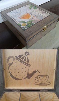 hand made, tea time, herbata, pudełko, decoupage