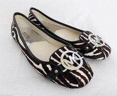 Michael Kors Fulton Zebra Ballet Flats Driving Shoes Calf Hair Silver Logo 8