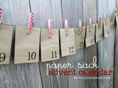 {paper sack & clothespin advent} @ Simply Kierste    Easy and inexpensive, too!