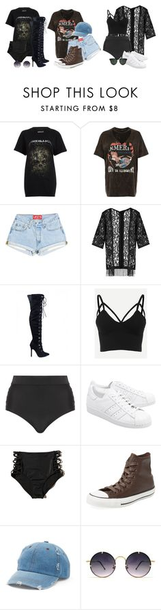 """Halsey Inspired Outdoor Concert Wear (RQ)"" by emmammh ❤ liked on Polyvore featuring River Island, Boohoo, Cactus, adidas Originals, Hollister Co., Converse, Mudd and Spitfire"