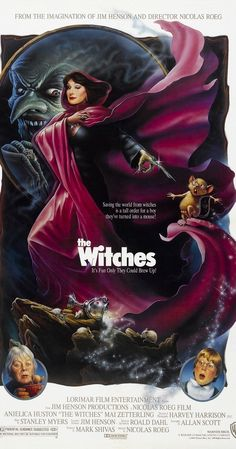 Directed by Nicolas Roeg.  With Anjelica Huston, Mai Zetterling, Jasen Fisher, Rowan Atkinson. A young boy stumbles onto a witch convention and must stop them, even after he has been turned into a mouse.