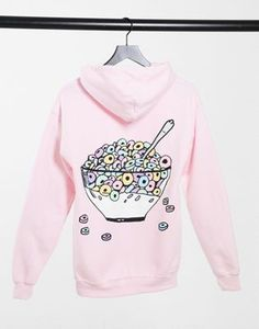 New Love Club oversized hoodie with ceral back print in light pink New Love, Asos, Hoodies, Sweatshirts, Club, Graphic Sweatshirt, Color Rosa, Prints, Sweaters