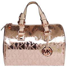 Pre-owned Michael Kors Grayson Medium Mirror Metallic - Rose Gold... ($287) ❤ liked on Polyvore featuring bags, handbags, rose gold, michael kors tote bag, tote handbags, rose gold handbag, satchel handbags and michael kors handbags