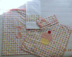 Great for school, cloth napkin, cloth bag, toth paste case and towell - all in cupcake theme. Gorgeous!