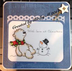 Polar Wishes from Digi Stamp Boutique. Polar Bear Colours: E52, E43, W1, W3, Scarf: YG21, YG23, G28 G29, r46, R59 R89 OR B21, B23, B26, B29, Y21 YR21, YR23, Hat; N9, N7, N5 OR C9, C7, C5, Nose, YR61, YR65, YR68 or YR 15, YR16, YR18, Shawdowing stipple with B60 & C1, Star; Y19, Y15, Y11.