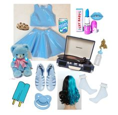 """""""feeling blue???"""" by dazzling-pink-elaina ❤ liked on Polyvore featuring Lime Crime, Crosley Radio & Furniture, JuJu, Tattly and Topshop"""