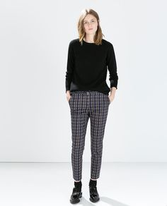 Image 1 of PRINTED TROUSERS WITH BELT from Zara