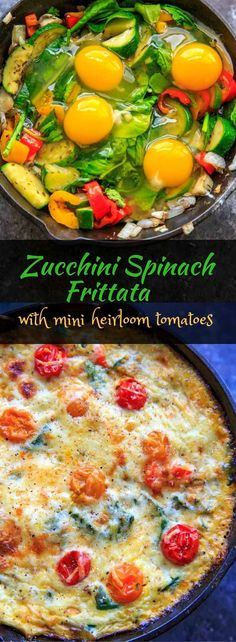 Zucchini Spinach Frittata with Mini Heirloom Tomatoes. Quick and easy meal to whip up for brunch or breakfast for dinner!