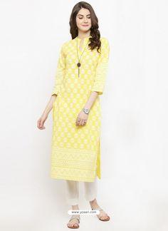 Eye Catching Yellow Cotton Blend Printed Kurti
